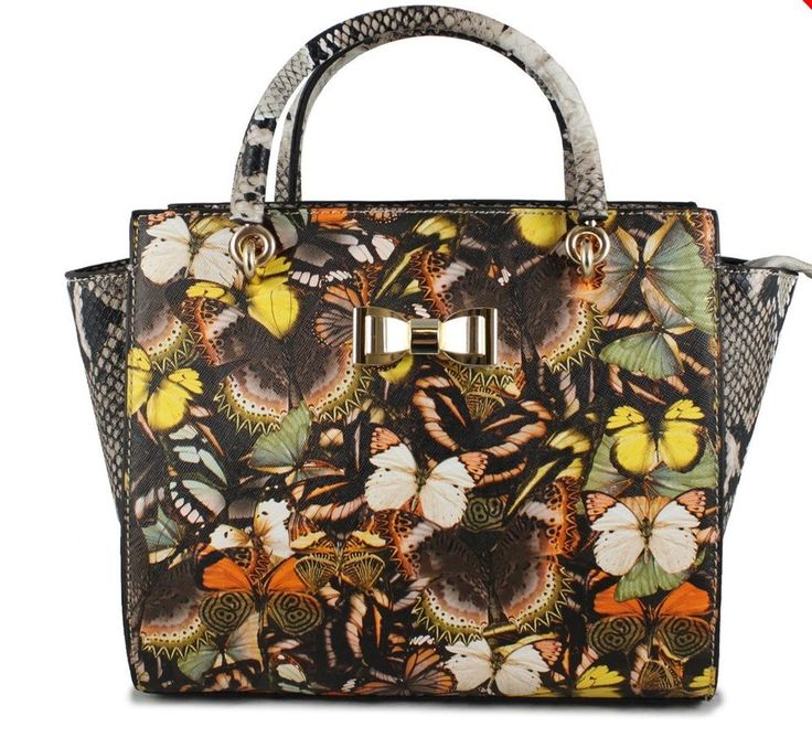 Women's Cross Body Tote Multi Colour Butterfly bag Snakeskin in Brown/Apricot