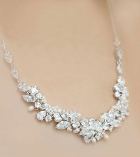 ****Special Package Price for the set of necklace, bracelet, earrings**** These statement bridal pieces are made with Rhinestones, natural