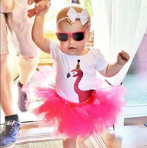 First Birthday Flamingo Bodysuit by OliveandBirdie on Etsy