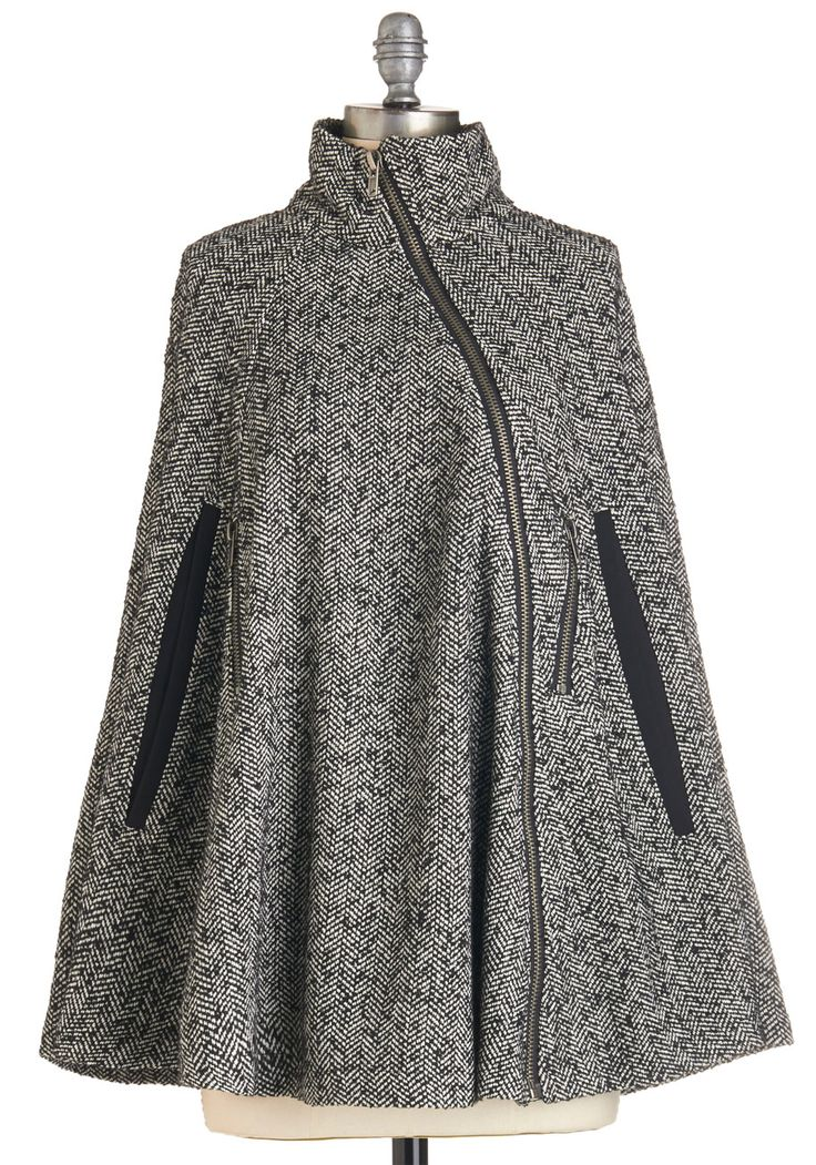 Beacon Hill Breakfast Cape. Brunch with Bostons most elegant crowd, draped in this tasteful tweed cape. #grey #modcloth