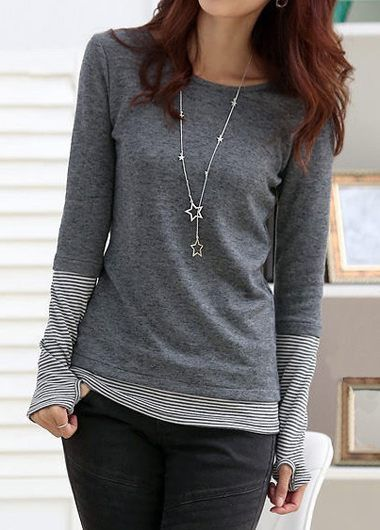 Striped Glove Sleeve Patchwork Grey T Shirt on sale only US$30.16 now, buy cheap Striped Glove Sleeve Patchwork Grey T Shirt at liligal.com