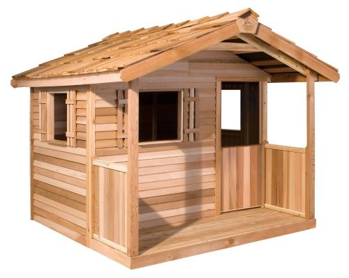 Cedar Shed Log Cabin Cedar Playhouse - Outdoor Playhouses at Hayneedle - 1995.00 no shipping panels arrive ready to be assembled.