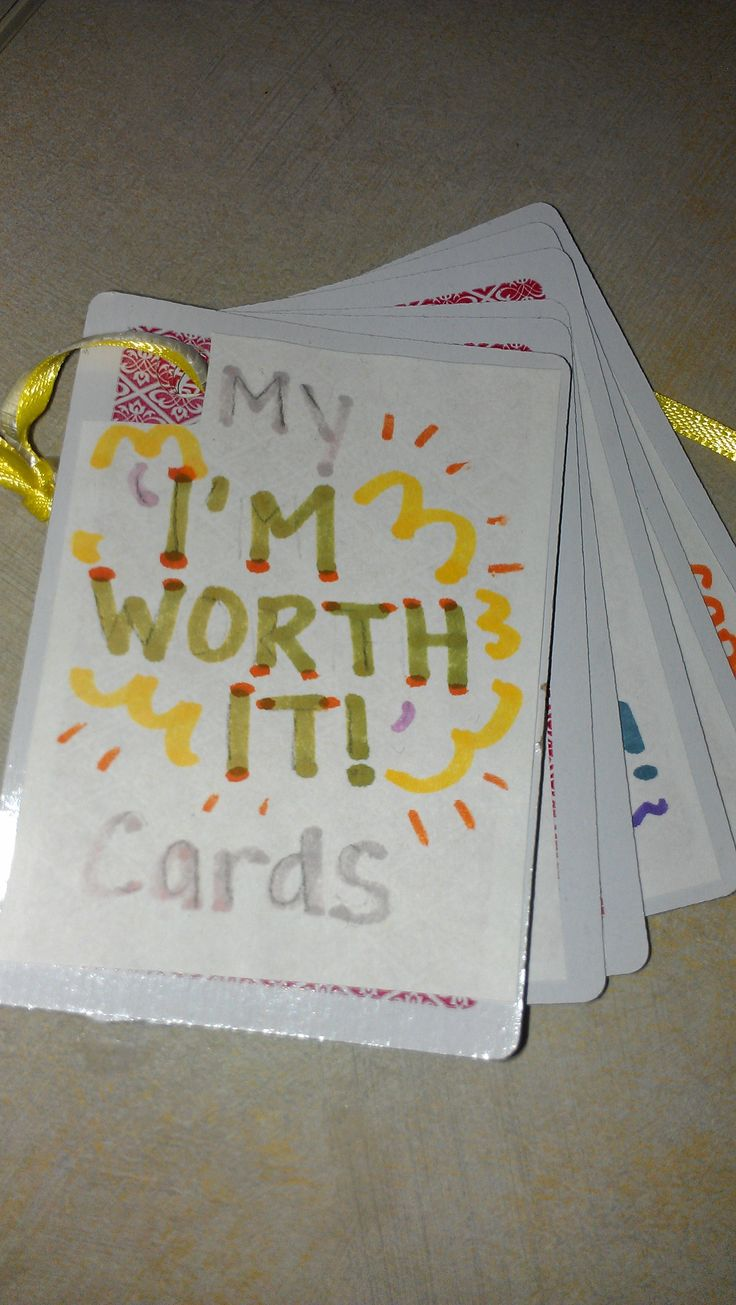"""March's theme, """"I'm Worth It"""" focused on improving self esteem.  Members designed their own deck of cards with words and pictures how they take care of themselves, what things make them feel better, how can they help others, what their family can do to help them feel good, ending with positive words that help motivate them.  They decorated all 52 cards!"""