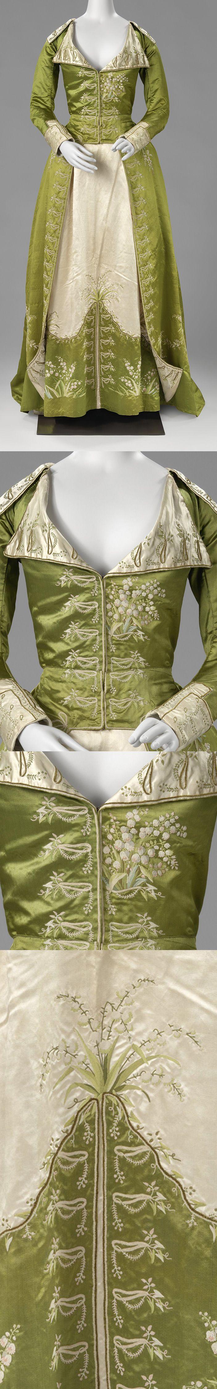 Redingote or Great-Coat Dress, c.1786 - c.1789, satin, silk, Netherlands, BK-1978-250 | Rijksmuseum