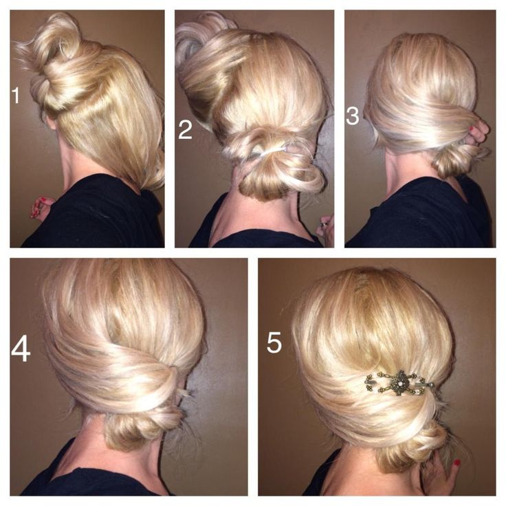 A tutorial for this sleek elegant style! Best on shoulder length hair or longer:) Step 1 section the hair with a diagonal part. Almost down the middle, but slanted Step 2 Put the lower half of hair in a ponytail not pulling it all the way through to create a bun Step 3 take the top section and drape across the top of the bun and give it a slight twist and wrap it around the bun as far as it will go and pin the ends close to the ponytail Step 4 secure loose hairs with pins and hairspray