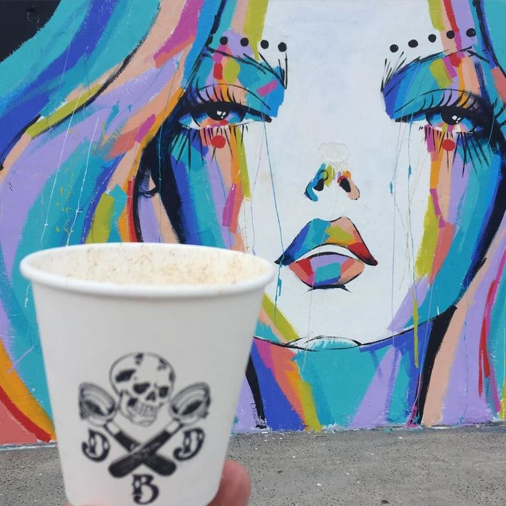 """newyorkcoffeefestival: """"Cup from @deathbeforedecaf247 Mural from infamous Bondi…"""