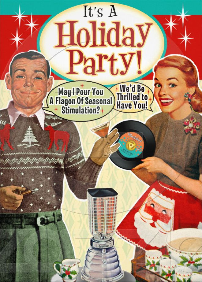 retro holiday party invitation http://www.retrochristmascardcompany.com/category/party-invitations/