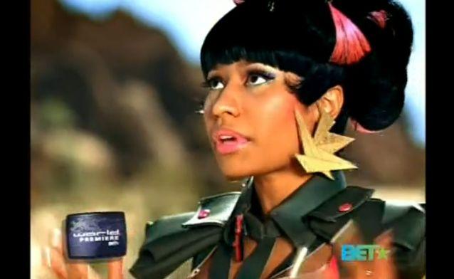 "Nicki Minaj's ""Massive Attack"" video, wearing the Crane earrings www.melodyehsani.com"