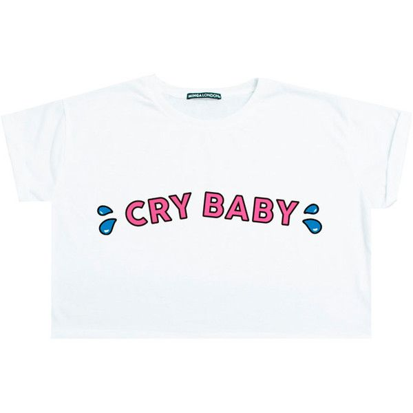 Cry Baby Top Crop T Shirt Tee Womens Girl Funny Fun Tumblr Hipster... ($17) ❤ liked on Polyvore featuring tops, t-shirts, shirts, tees, crop top, black, sweater vests, sweaters, women's clothing and goth t shirts
