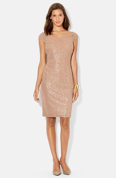 Lauren Ralph Lauren Mesh Overlay Sequin Dress (Regular & Petite) available at #Nordstrom