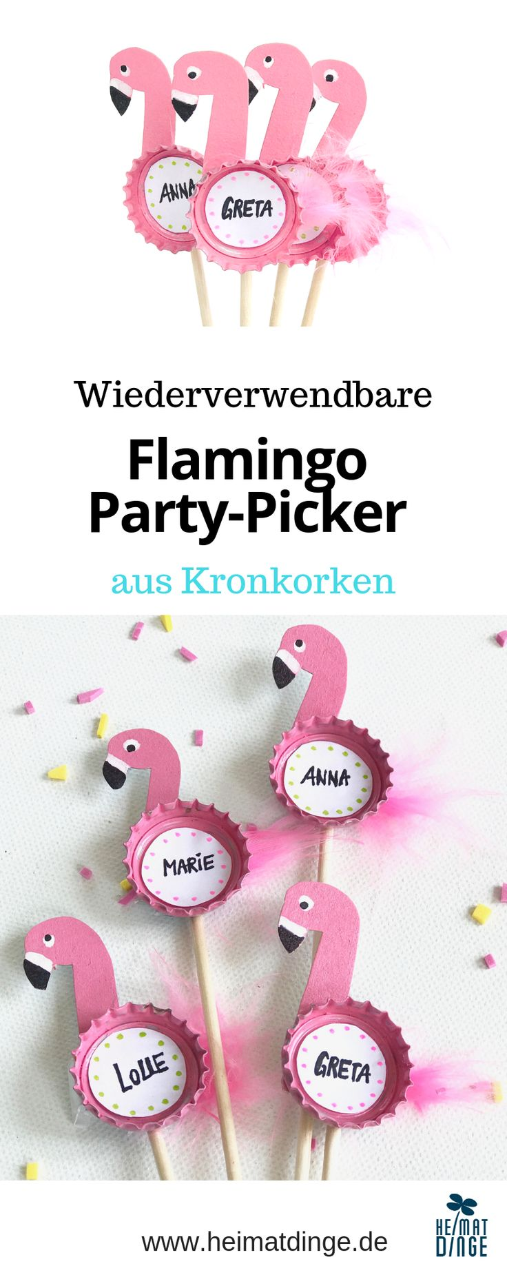 Nachhaltige Party Deko selber machen: wiederverwendbare Flamingo Party Picker aus Kronkorken