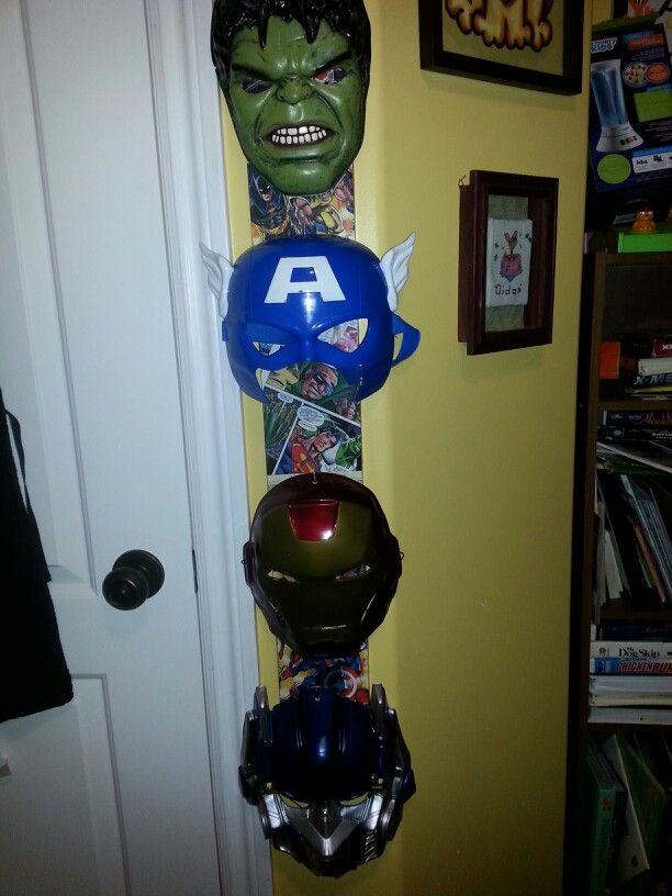 Comicbook superhero mask rack!