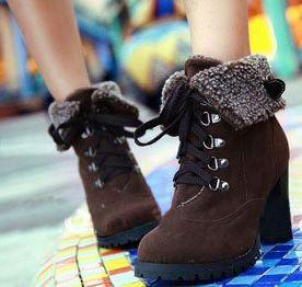 92b7c87e34e Brown Ankle Boots High Heels Lace up Snow Boots Platform Pumps keep warm  women boots