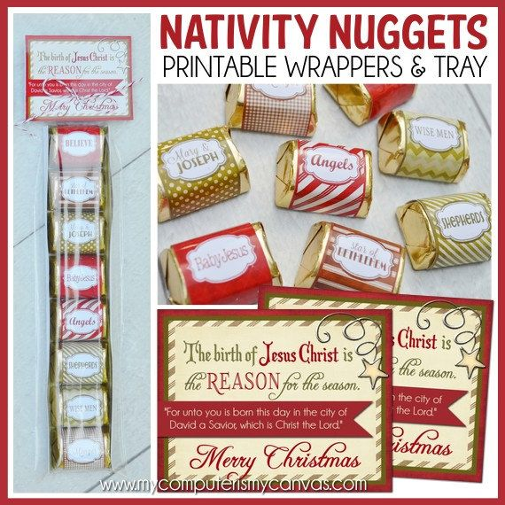 NATIVITY Christmas Nugget Wrappers with Tray, Hershey, Reason for the Season - Printable Instant Download