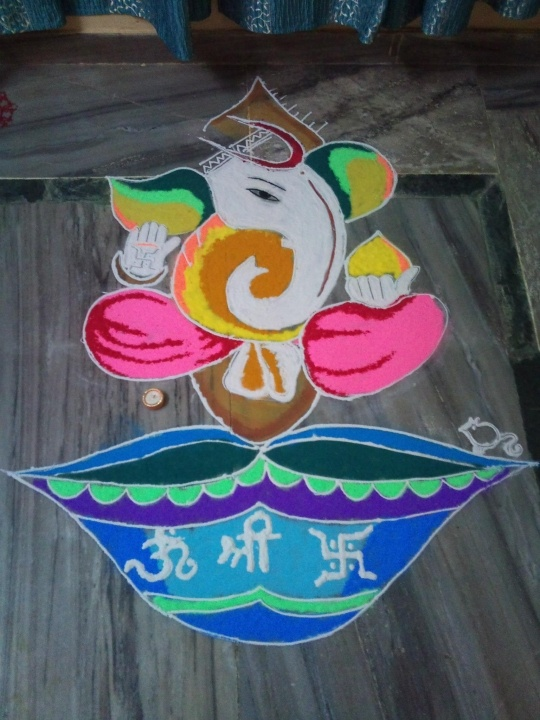 Entry by Kanika Goel(1) #Diwali #Rangoli I like this one because Ganesha is in it and he's an elephant!