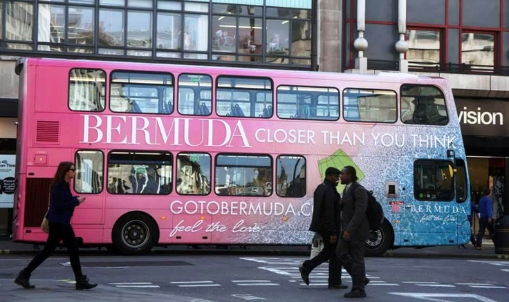 Bermuda Tourism Pink Bus in London       http://www.transportmedia.co.uk/transport-media-outdoor-advertising/press/london-commuters-to-feel-the-love-from-bermuda-tourism-20120301/697