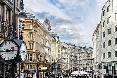View from a higher point of view of the famous Graben - Tourists shopping in the City centre of Vienna, Austria, near Staphans Dome