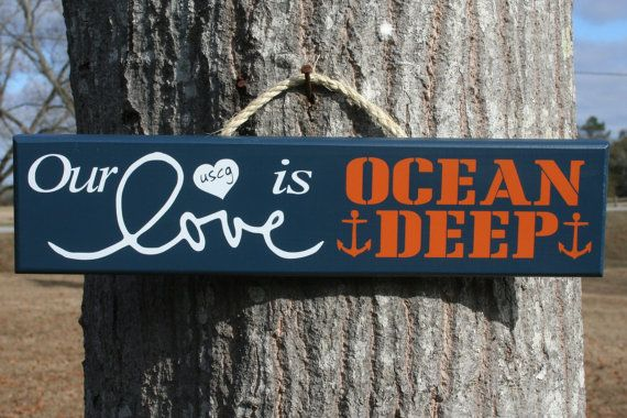 Our Love is OCEAN DEEP ~ Coast Guard Painted Military Sign on Etsy, $15.00