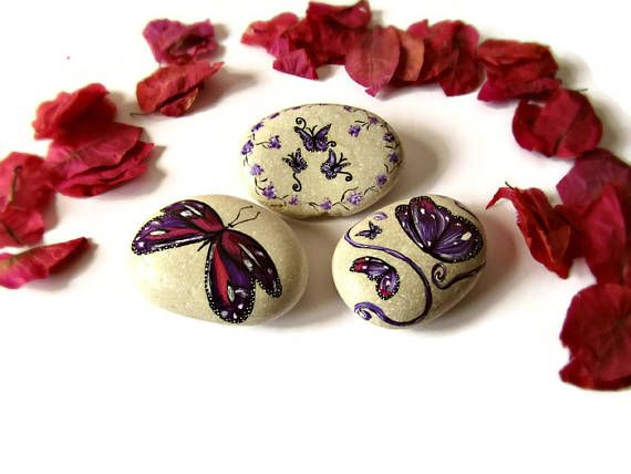 Painted rocks, desk accessories set, desk decor, paperweight, butterfly decor, butterfly gift, painted stones, bedroom decor, dorm decor