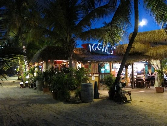 Iggies St Thomas- beach bar and grille on the sand, steps away from the beach, Iggies has great food, Calypso music, limbo,dancers, & delicious Cruzan rum drinks. And try the famous Voodo Juice Cocktail.