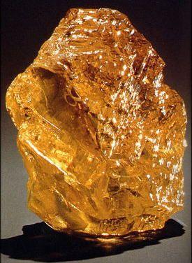 Incomparável  Como o maior diamante amarelo e terceira maior diamante do mundo, a pedra 407,48 quilates é descrito como um diamante de cor dourada em forma de pipa, classificado como impecável e fantasia profunda amarelo acastanhado pelo Instituto Gemológico da América (GIA). É o maior diamante sem falhas já classificadas pelo GIA.