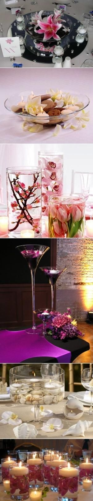 DIY Floating Flowers And Candles Centerpieces by Aeerdna