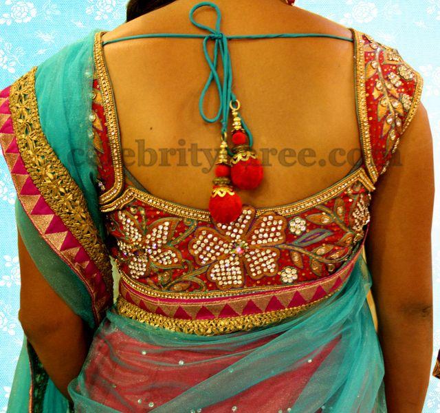Red and Blue Net Half Saree | Saree Blouse Patterns