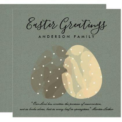 MODERN ZEN GREY WATERCOLOR EASTER EGGS PERSONALISE CARD - invitations custom unique diy personalize occasions