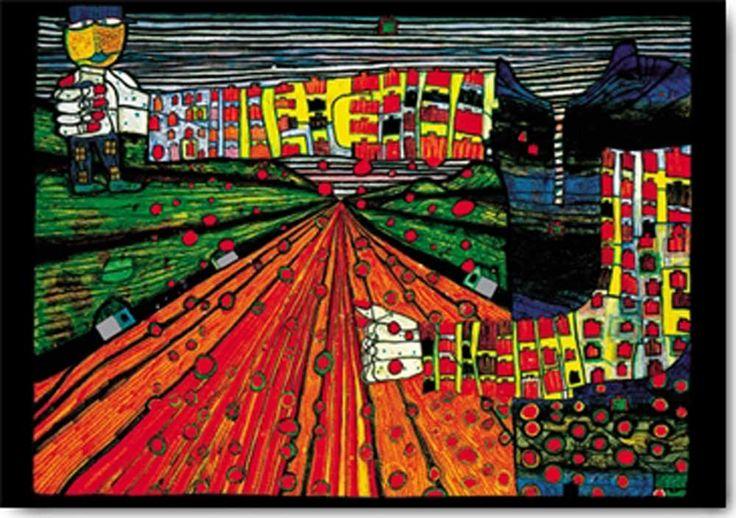 hundertwasser | Friedensreich Hundertwasser - Kunstdruck / Art Poster - Die Strasse ...