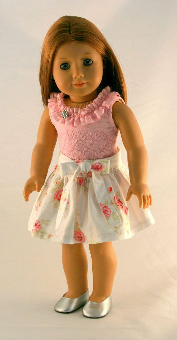 American Girl Doll Clothes Pink Ruffled Tank by Forever18Inches