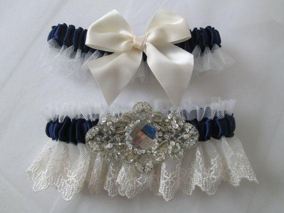 Navy Blue Midnight Wedding Garter Set By GibsonGirlGarters