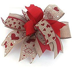 Whimsical Valentine's Day burlap bow for wreaths mantle lantern decoration