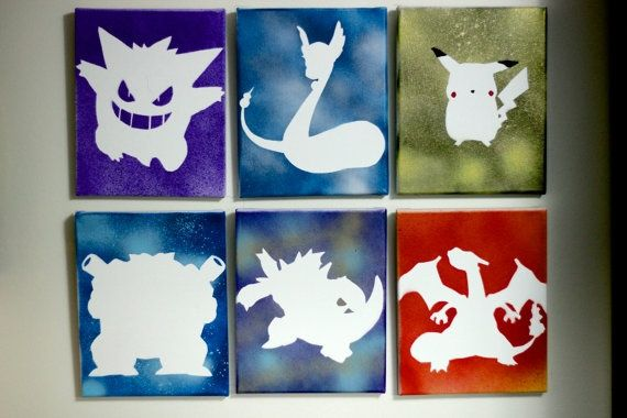 Pokemon Canvas Spray Paint Silhouette Google Search