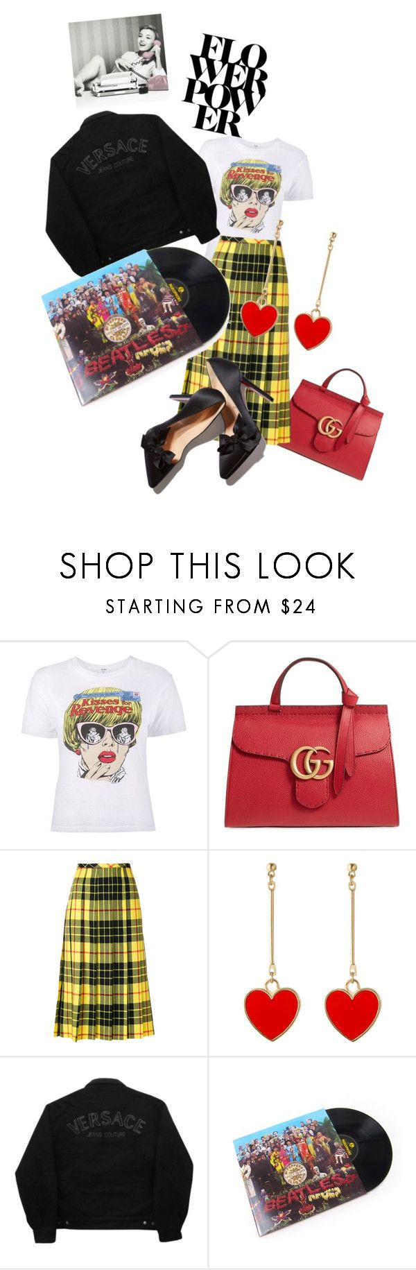 """""""Retro days!!!!"""" by anastasiafaithfilipic ❤ liked on Polyvore featuring Gucci, Versace Jeans Couture, Giles and RetroQueen"""