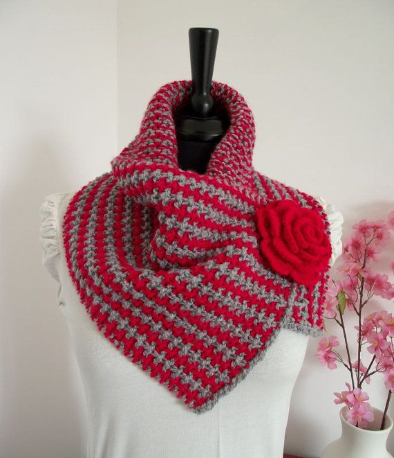 KNITTING PATTERN COWL with Crochet Flower by LiliaCraftParty