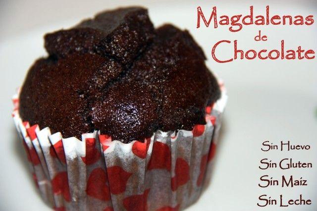 Magdalenas de chocolate veganas , con harina de arroz , sin gluten