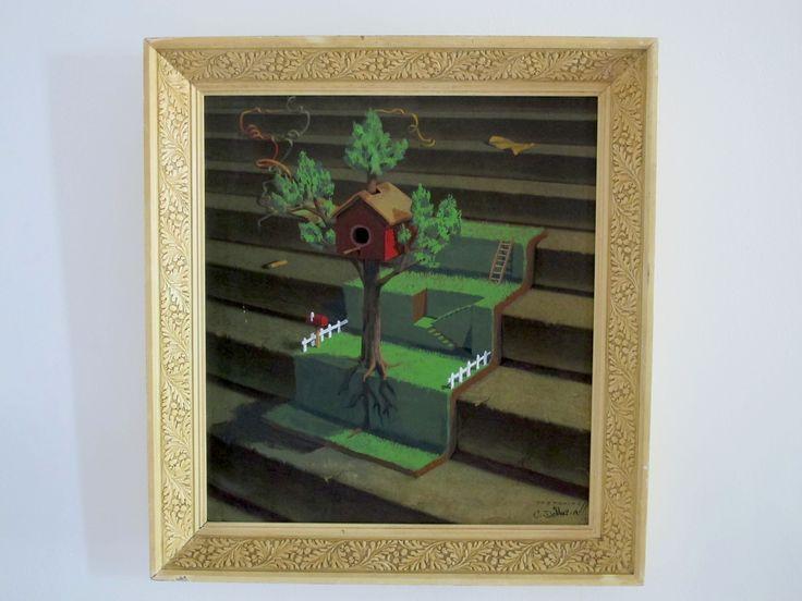 """Christophe DeMuri - Tretchikoff's Lost Orchid (Treehouse remix) (2014) Acrylique sur estampe 24""""x26"""" - Prix : 500$ (encadré)"""