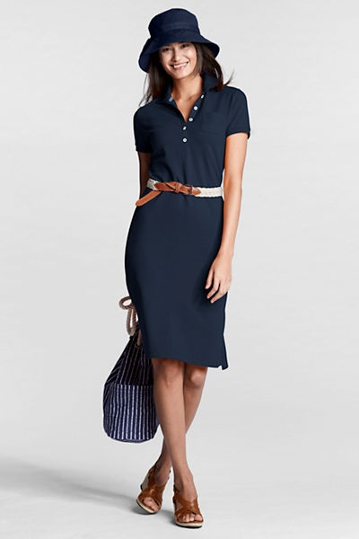 Summer look-- Polo dress with leather belt & wedges
