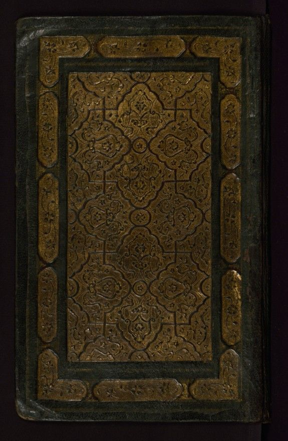 Binding from Yusuf and Zulaykha   is composed of dark brown goatskin (with a flap). The binding has panel-stamped central and border divisions with floral and vine designs, brushed with gold. The red doublures have a central lobed medallion and cornerpieces of gold filigree work over colored paper with significant loses.Walters manuscript W.644 ends here.