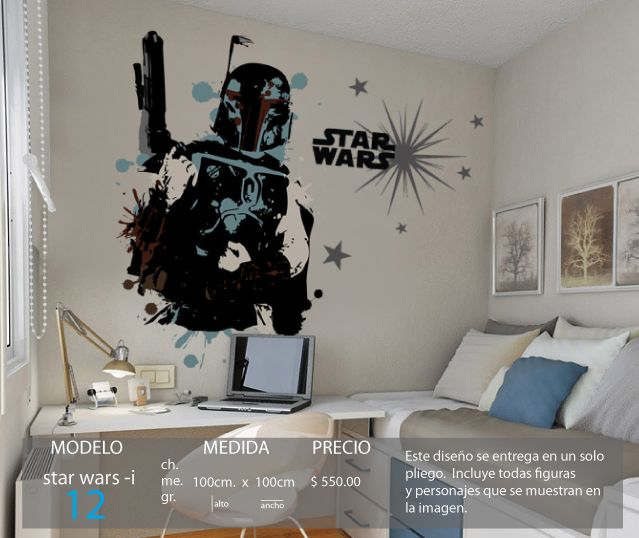 Vinilo 3 14 vinilos decorativos infantiles star wars for Decoracion de cuarto star wars