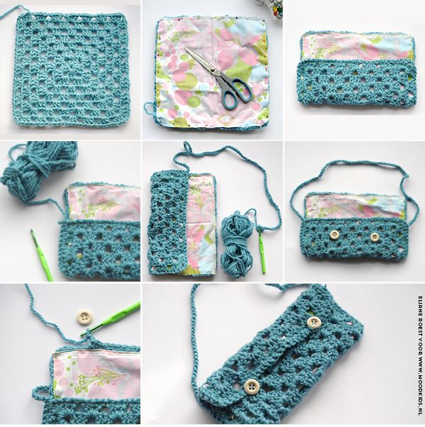 crochet, bag, purse, granny square, tasje, haken, tutorial, how to, pattern