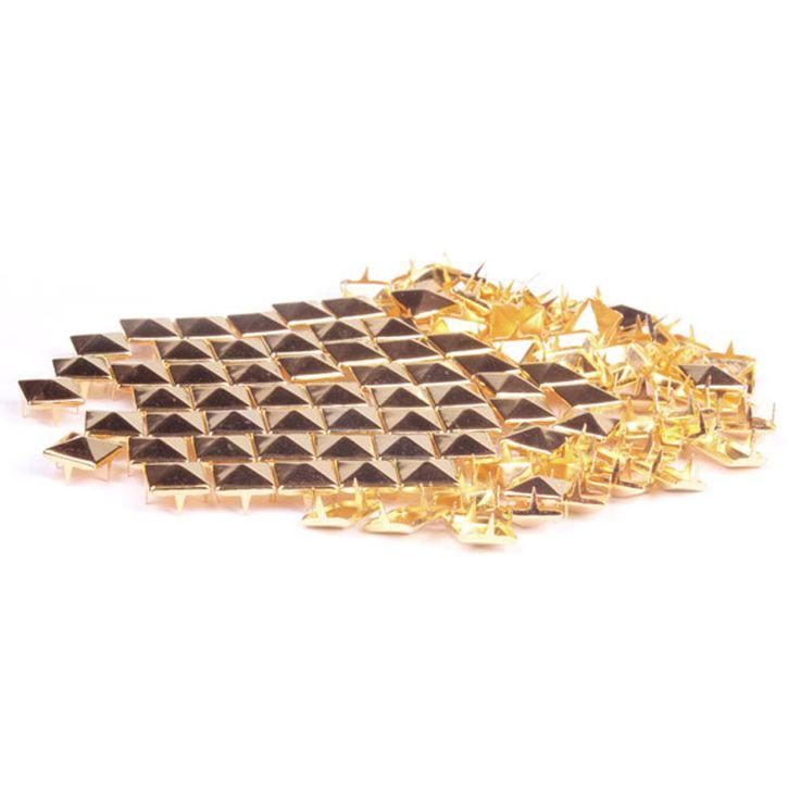 100шт 7мм Fashion Square стержня заклепки панк рок конструкция шипы DIY Craft Gold купить на AliExpress
