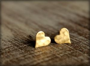 adorableDay Outfit, Surgical Steel, Heart Earrings, Earrings Studs, Earring Studs, Raw Brass, Steel Post, Stainless Steel, Hammer Heart