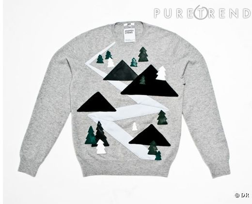 Must have : Un pull de Noël kitsch ! Pull cachemire sapins dans la montagne customisé main par Andrea Crews pour Uniqlo, édition limitée, 269 €