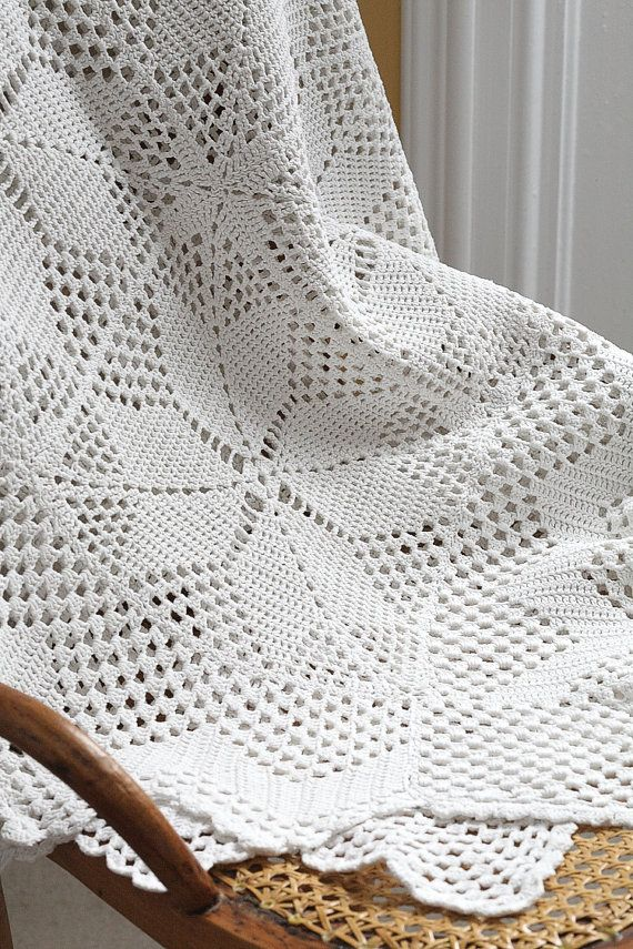 Vintage 1940s Crochet Tablecloth or Throw With Medieval Cross Pattern, Milk White Cotton Yarn on Etsy, $35.00