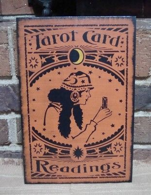 Prim Style Halloween Wood Sign TAROT CARD READINGS Gypsy Spells Charms Wiccan