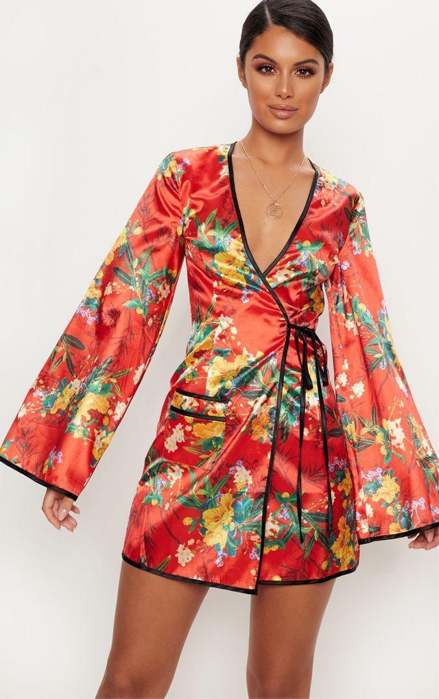 16cca73cfb80 Cobalt Print Satin Kimono Maxi Dress in 2019