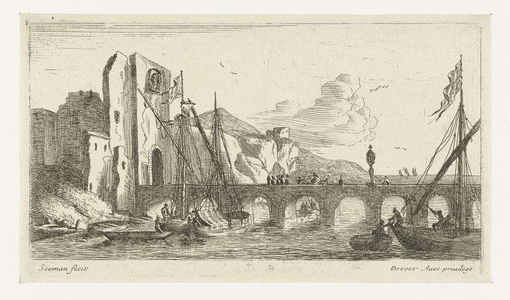 Anonymous | Brug bij een ruïne, Anonymous, Pierre Drevet, 1650 - 1738 | Brug over een rivier, leidend naar een ruïne. Aangemeerde zeilschepen nabij de brug.
