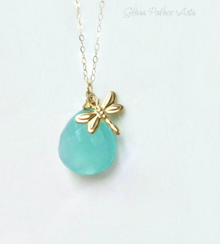 Gold Dragonfly Necklace - Firefly Pendant Necklace With Aqua Chalcedony