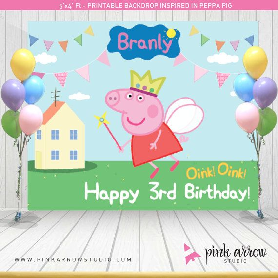 Peppa pig Fairy Backdrop  Peppa Pig inspired by PinkArrowStudio